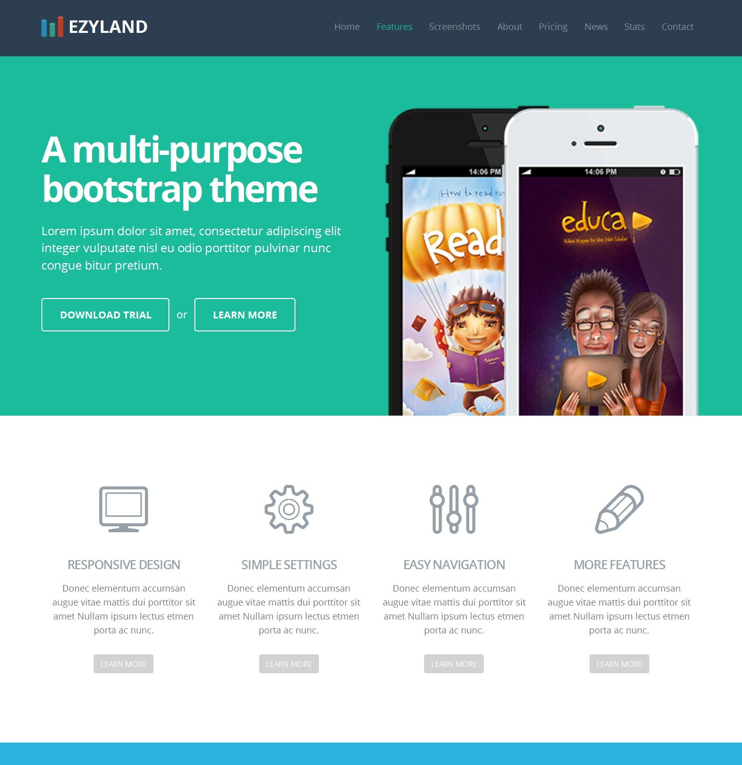 Mobile Bootstrap Single Page Theme