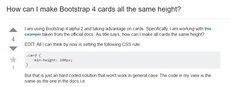 Insights on how can we  create Bootstrap 4 cards  all the same tallness?